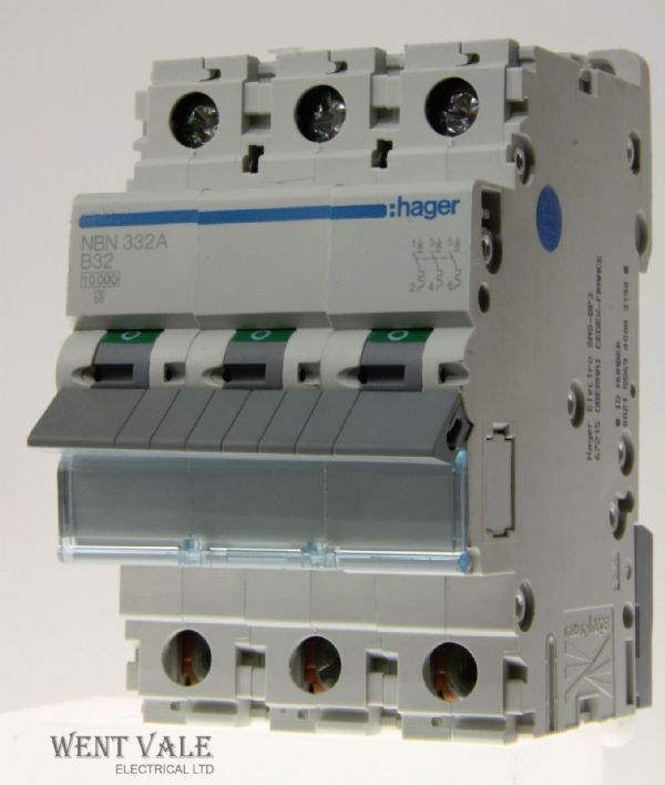 Hager NBN332 - 32a Type B Triple Pole MCB Unused